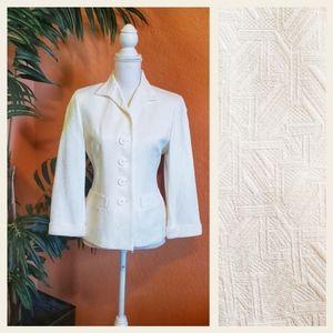 Jones New York Button Up Textured Geo Blazer White